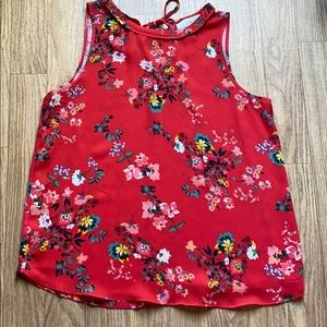 Loft   Mixed Media Floral Shell Red
